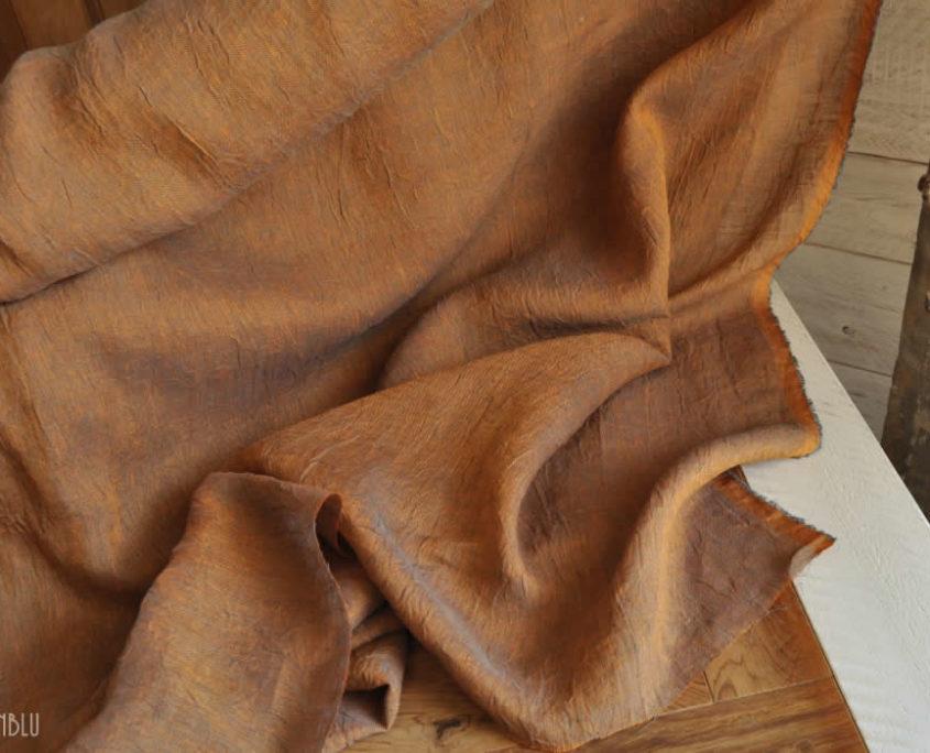 Tessuto Lino Stropicciato per Tende aranncio blu AranBlu F08   Made in Italy