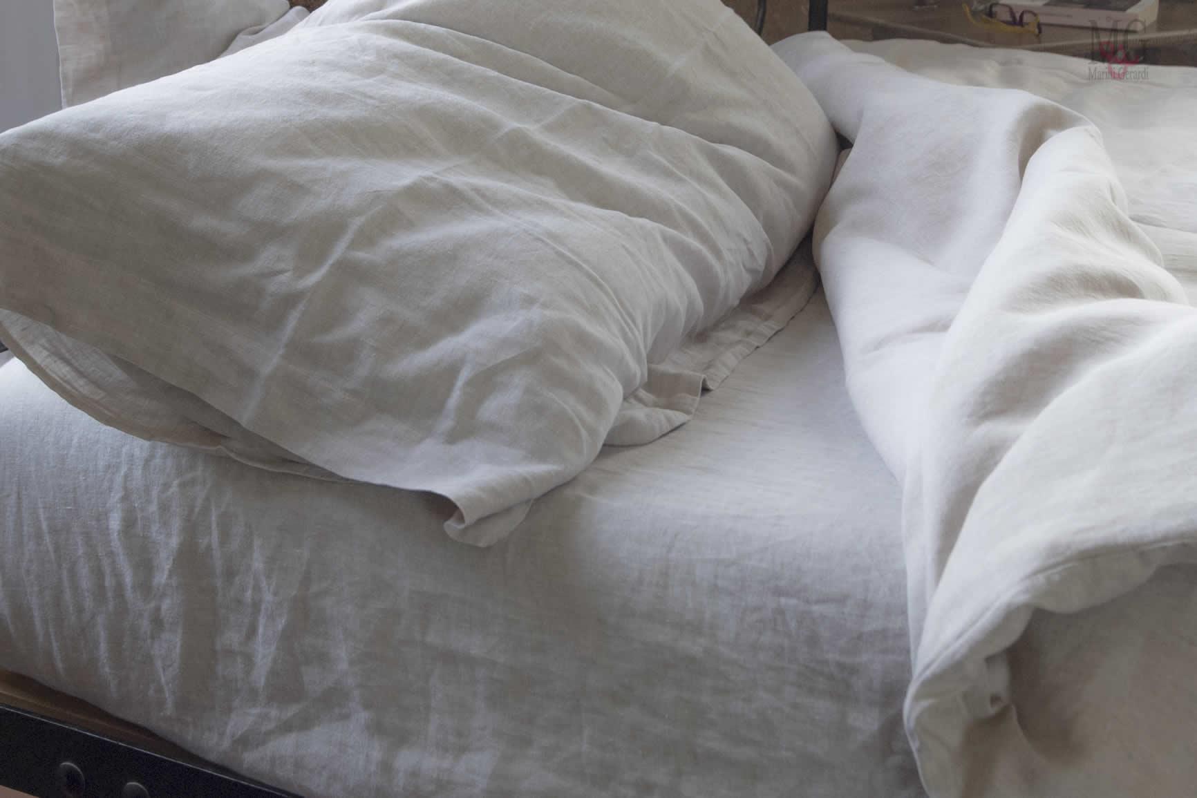 Biancheria letto in LINO 100% set lenzuola in lino sotto sopra con federe