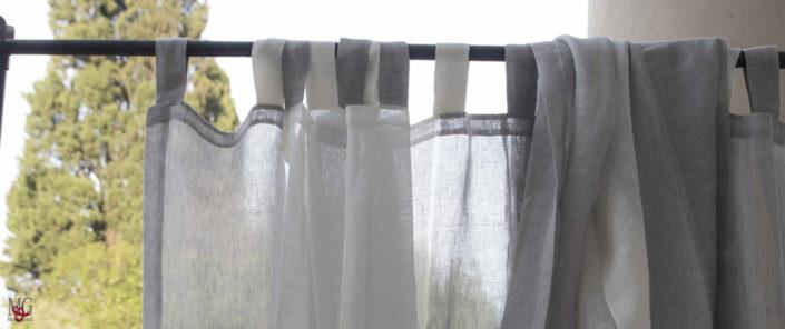 Tende da Interni tende camera da letto in lino a righe verticali polvere di luna bianco