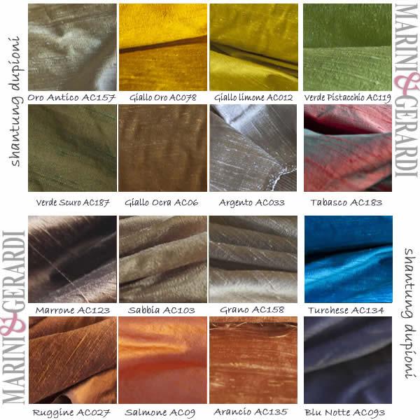 Dupioni Shantung seta pura tabella 16 colori