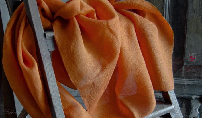tende per interni | Lino Stropicciato per TENDEl colore arancio