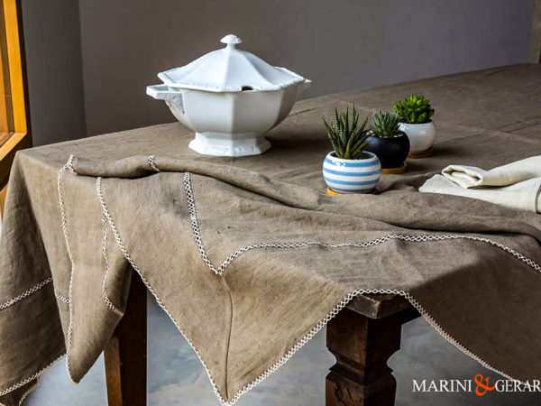 Embroidered Tablecloth In Pure Linen Agrigento 1