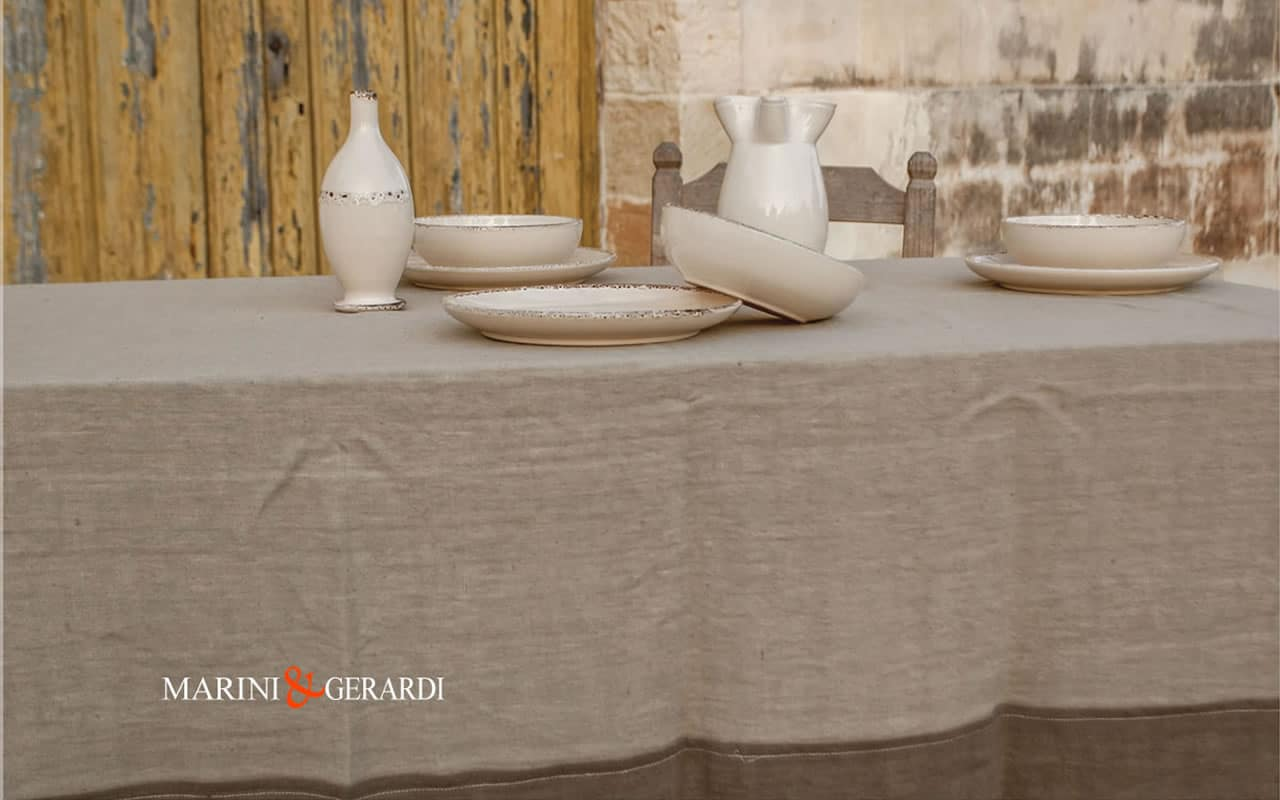 Linen Tablecloth Design Tableware Coffee Milk Tobacco PERUGIA