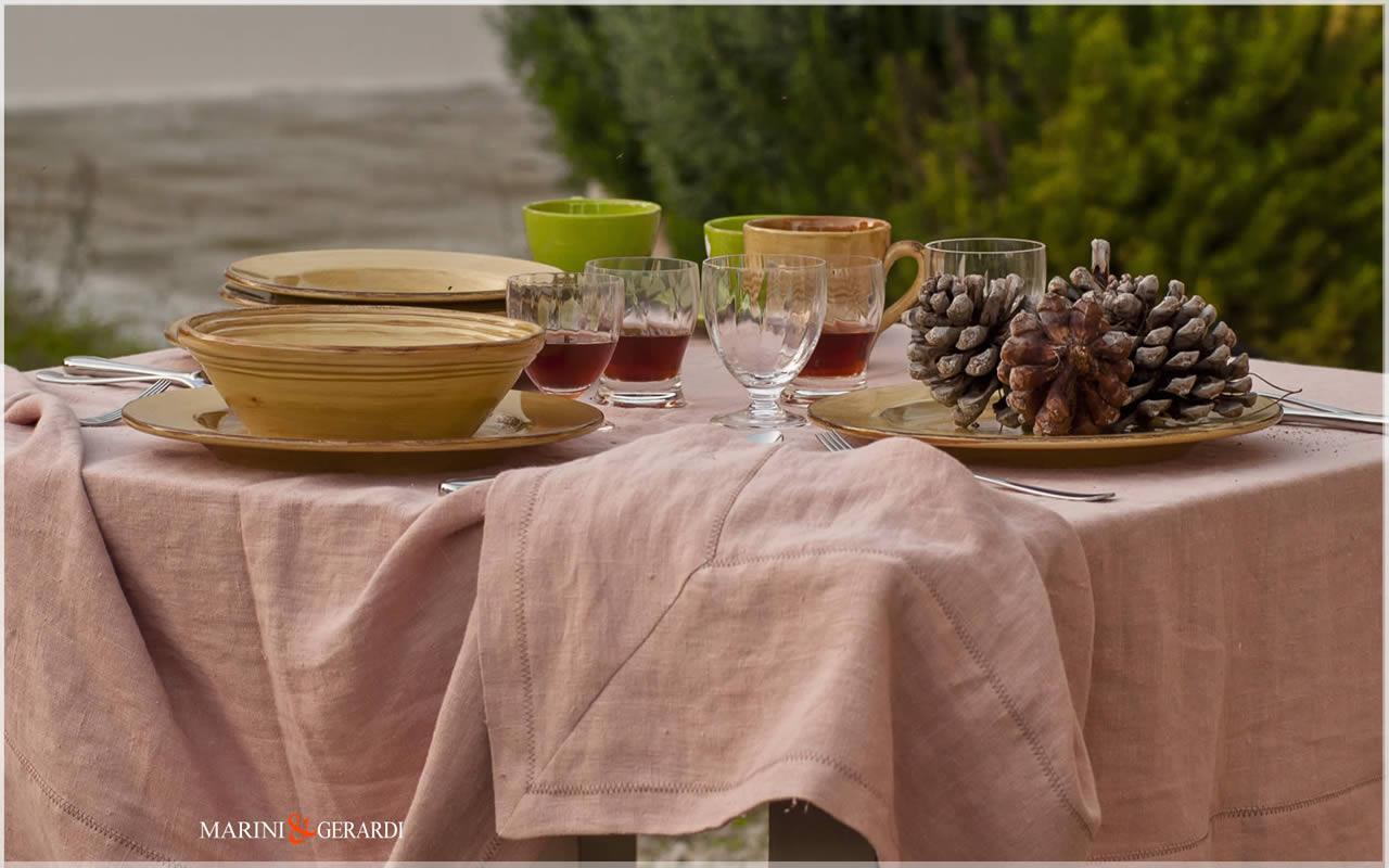 Linen Beautiful Spring Tablecloths Salmon Color 01 Barcellona