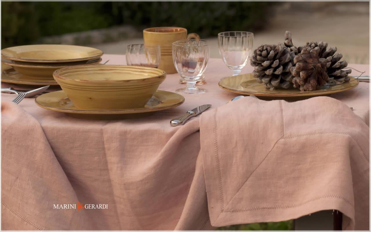 Linen rectangle tablecloth Salmon Color BARCELLONA