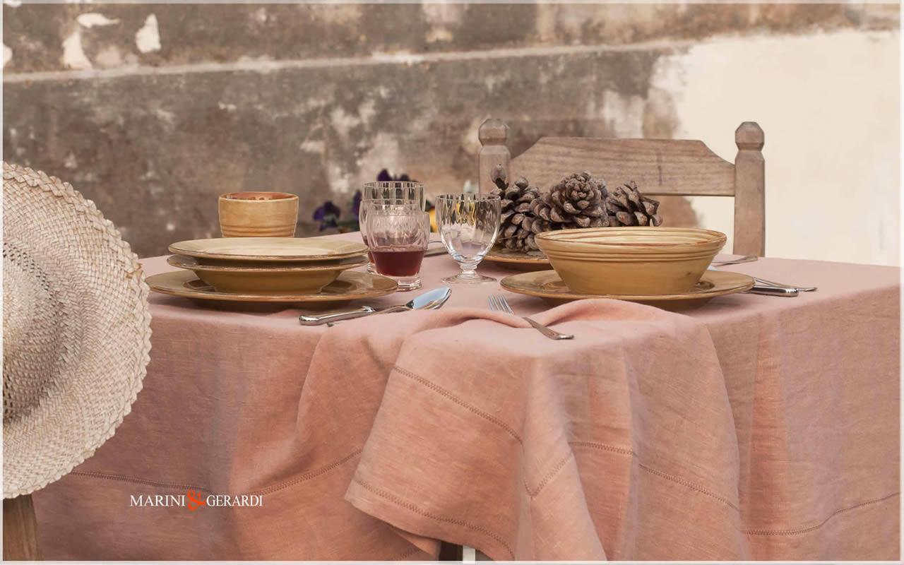 Linen elegant spring tablecloths Salmon Color Barcellona