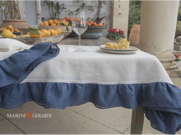 Home Linen Tablecloths White And Jeans Parisien