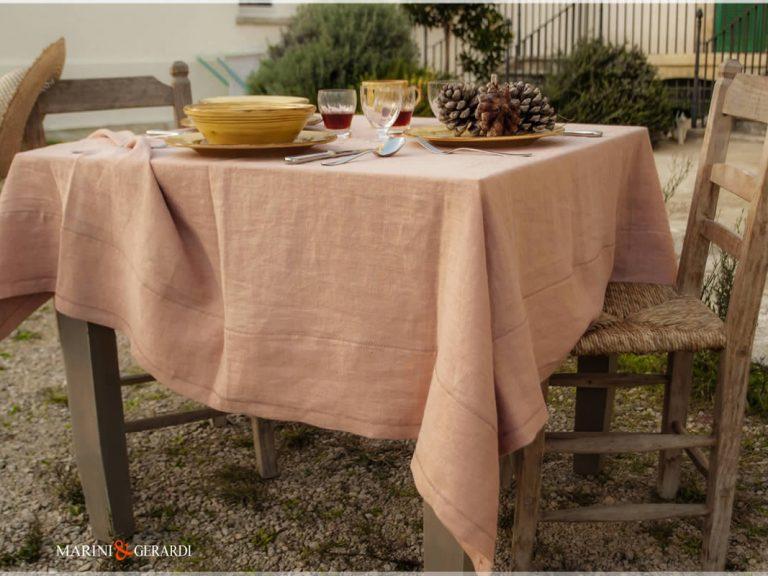 Leinen-Frühlingstischtücher Lachsfarbe Barcellona