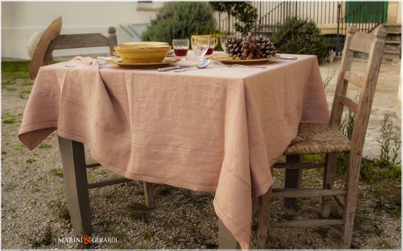 Linen Spring Tablecloths Salmon Color Barcellona