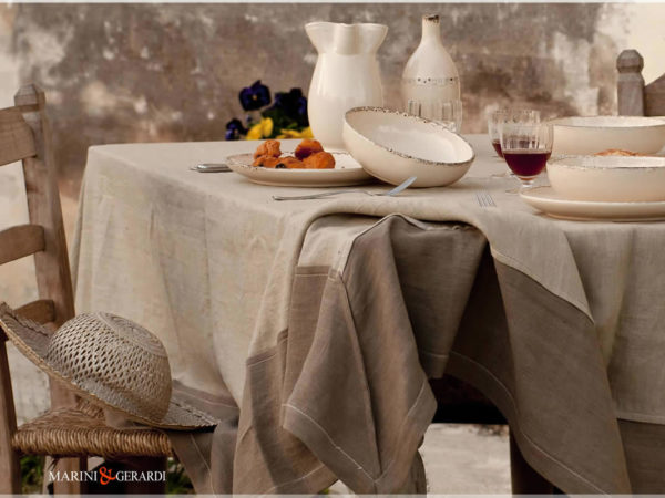 linen tablecloths coffee milk tobacco color Perugia
