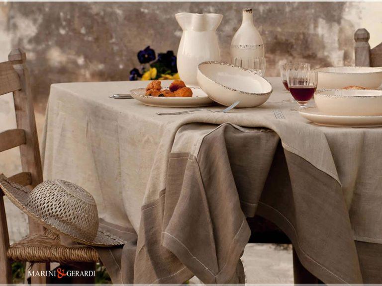 Leinen Tischdecken Kaffee Milch Tabak Farbe Perugia