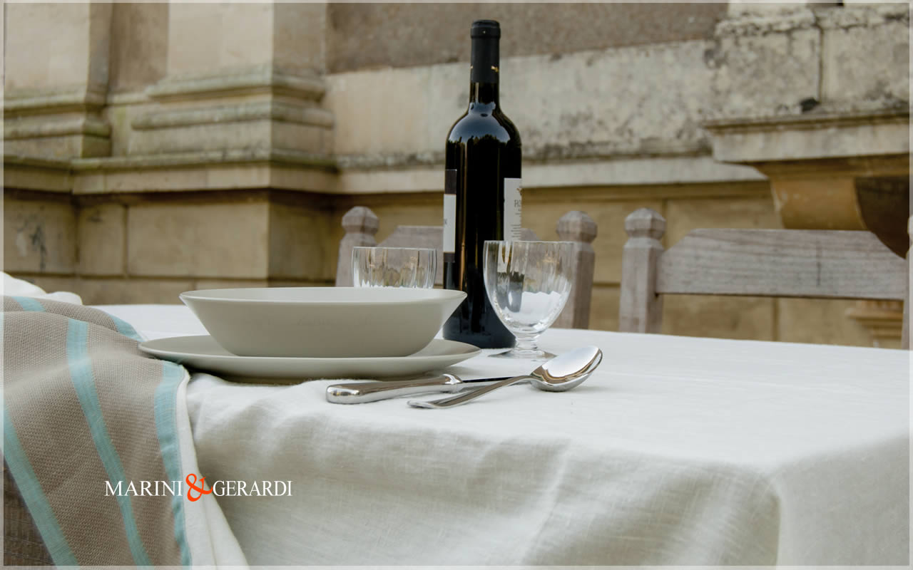 Linen Tablecloths Napkins Stripe Turquoise Stoccolma Collection