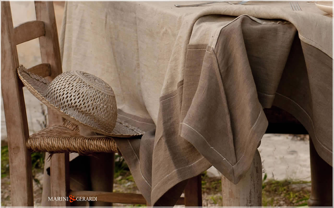 linen wedding tablecloth coffee milk tobacco color Perugia