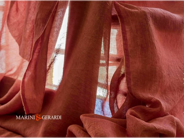 pure linen fabrics sunrise -red-vermilion