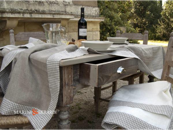 Tischdecken aus Reinleinen Nashville Country Tischdecken kleines Karo-Seil