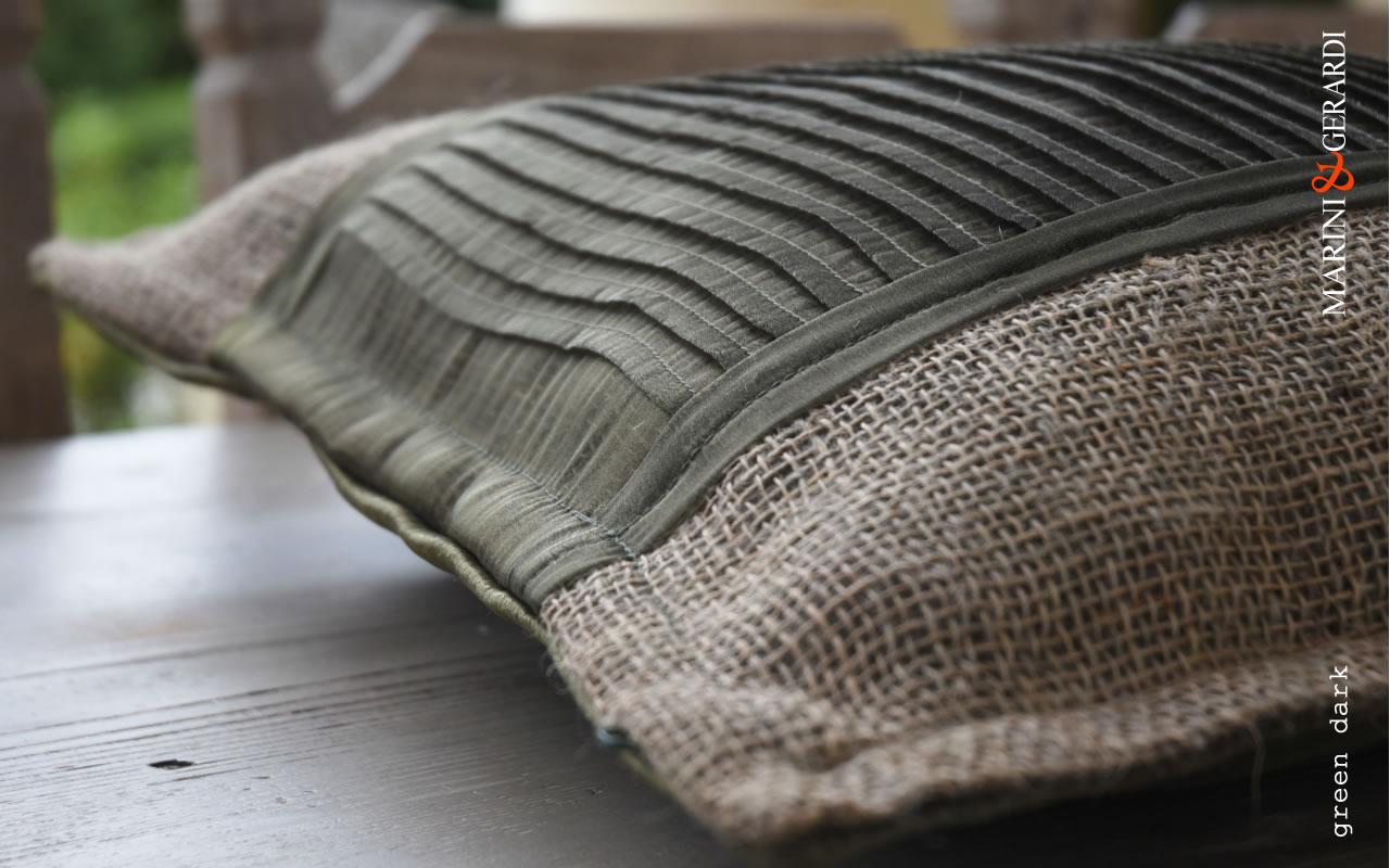 Cushions Covers Linguine Green Dark Yute Organdie