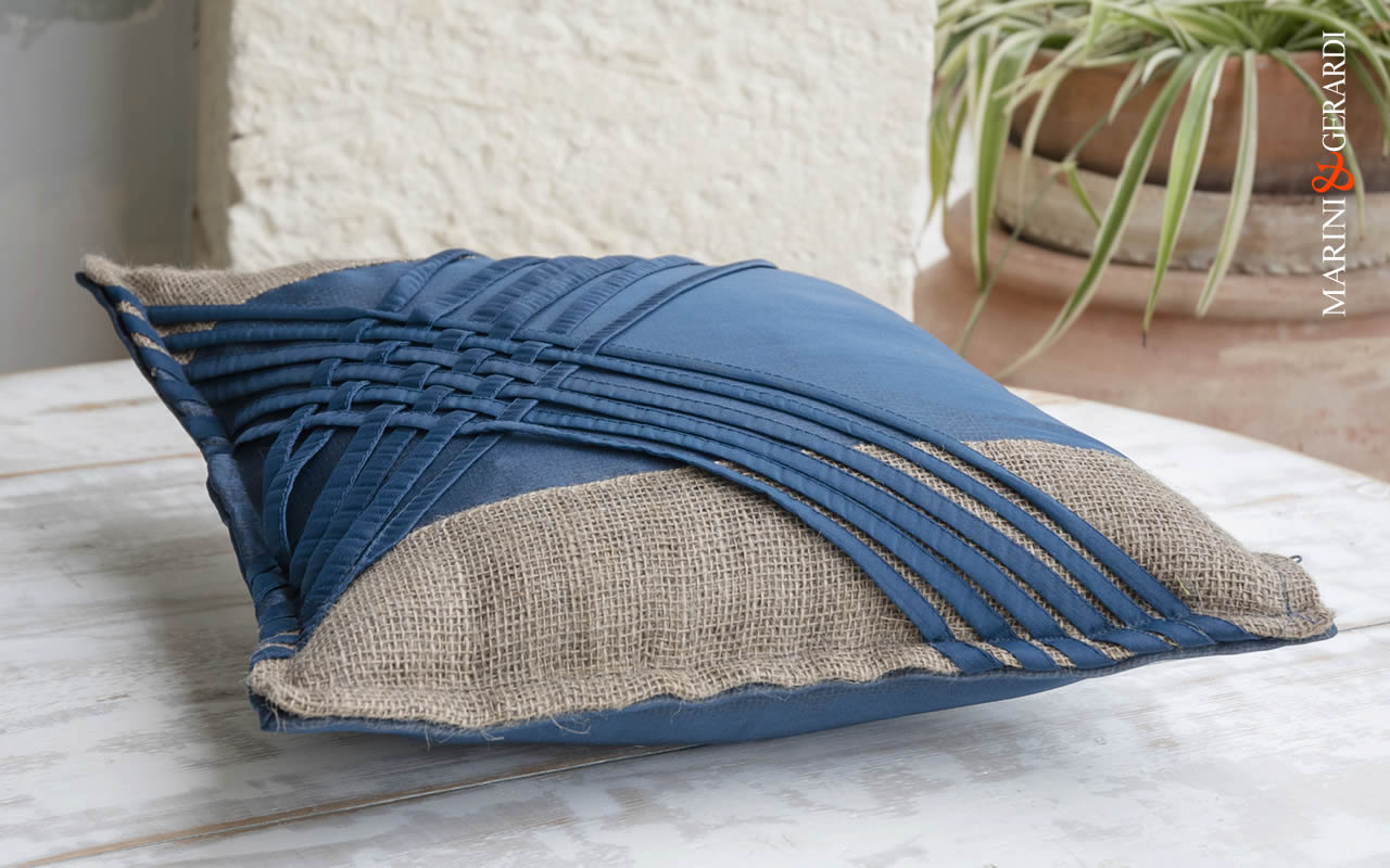 Large Cushions Covers Spaghetti Blue Italian Design