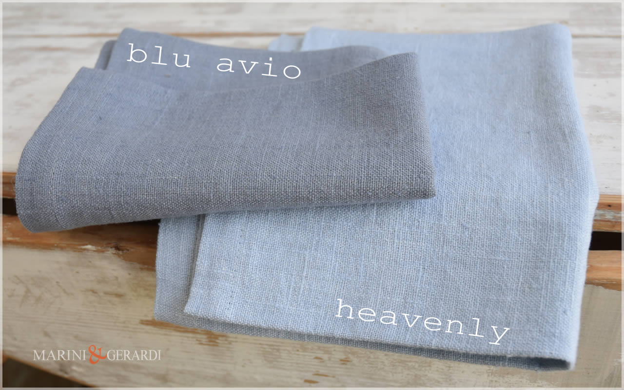 Linen Fabric: Blu Avio Heavenly