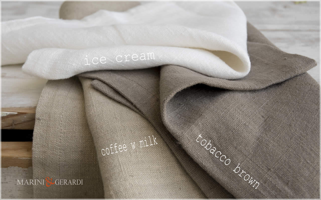 Linen Fabrics: Coffee W Milk Tobacco Brown Ice Cream