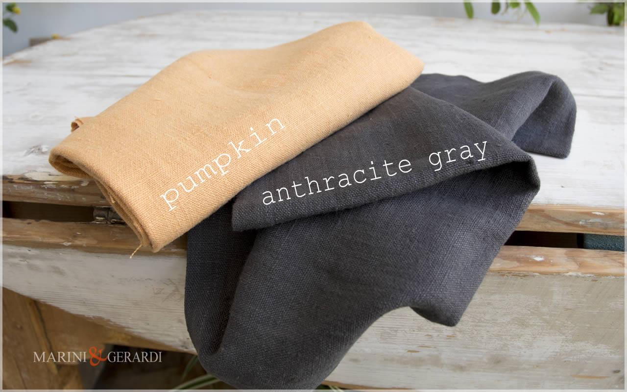 LINEN FABRICS Pumpkin Anthracite Gray
