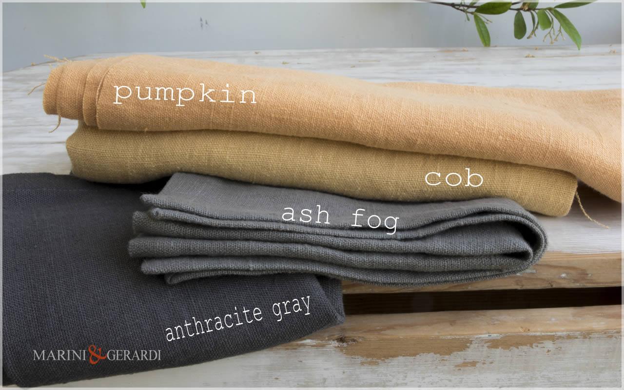 Rough Linen Fabric: Pumpkin Cob Anthracite Gray