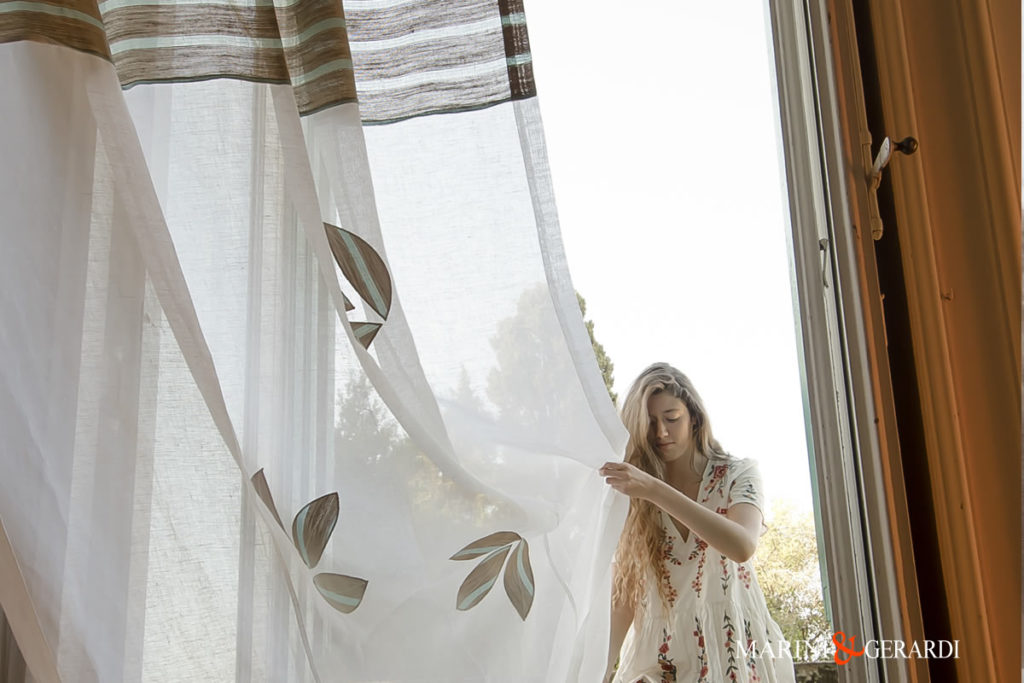 Best Italian curtains Linen Fabric Stripe And Leaves Collepasso