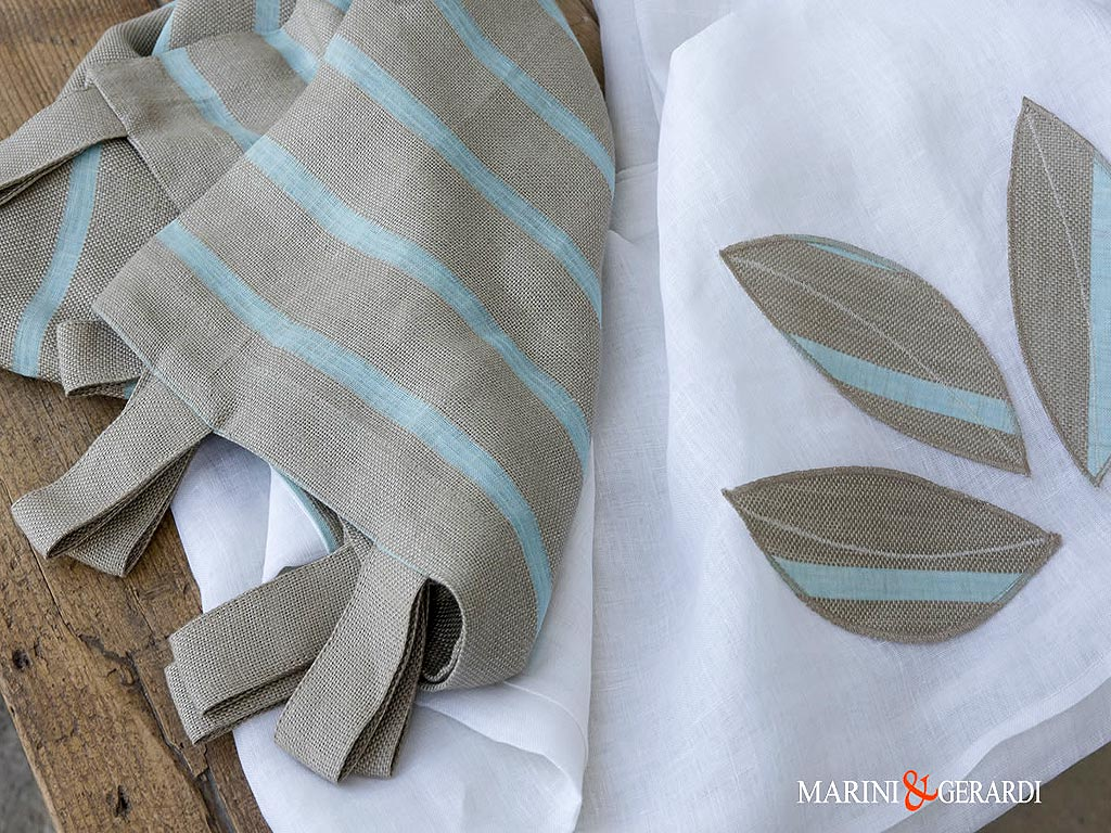 talian-linen-curtains-fabric-stripe-leaves-turquoise-Collepasso