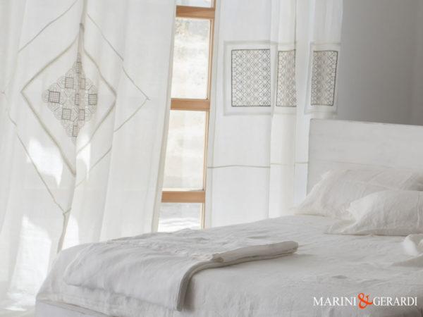 Möblierung Leinen Stoff zerknittert Leinen Vorhänge und Bettwäsche Weiß
