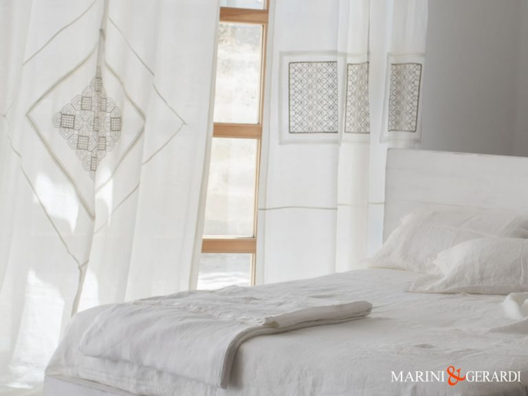 Furnishing Linen Fabric Crumpled Linen Curtains And Bed Sheets White