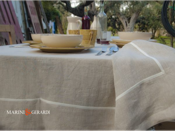 Luxury Natural Linen Tablecloths Ecru Melissano