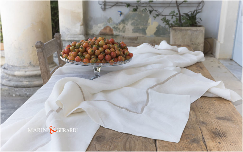 Luxury Natural Linen Tablecloths White Melissano