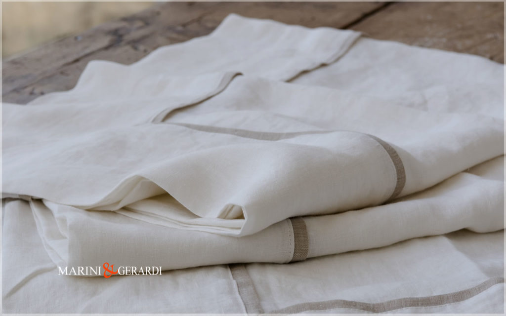 White Luxury Natural Linen Tablecloths Melissano