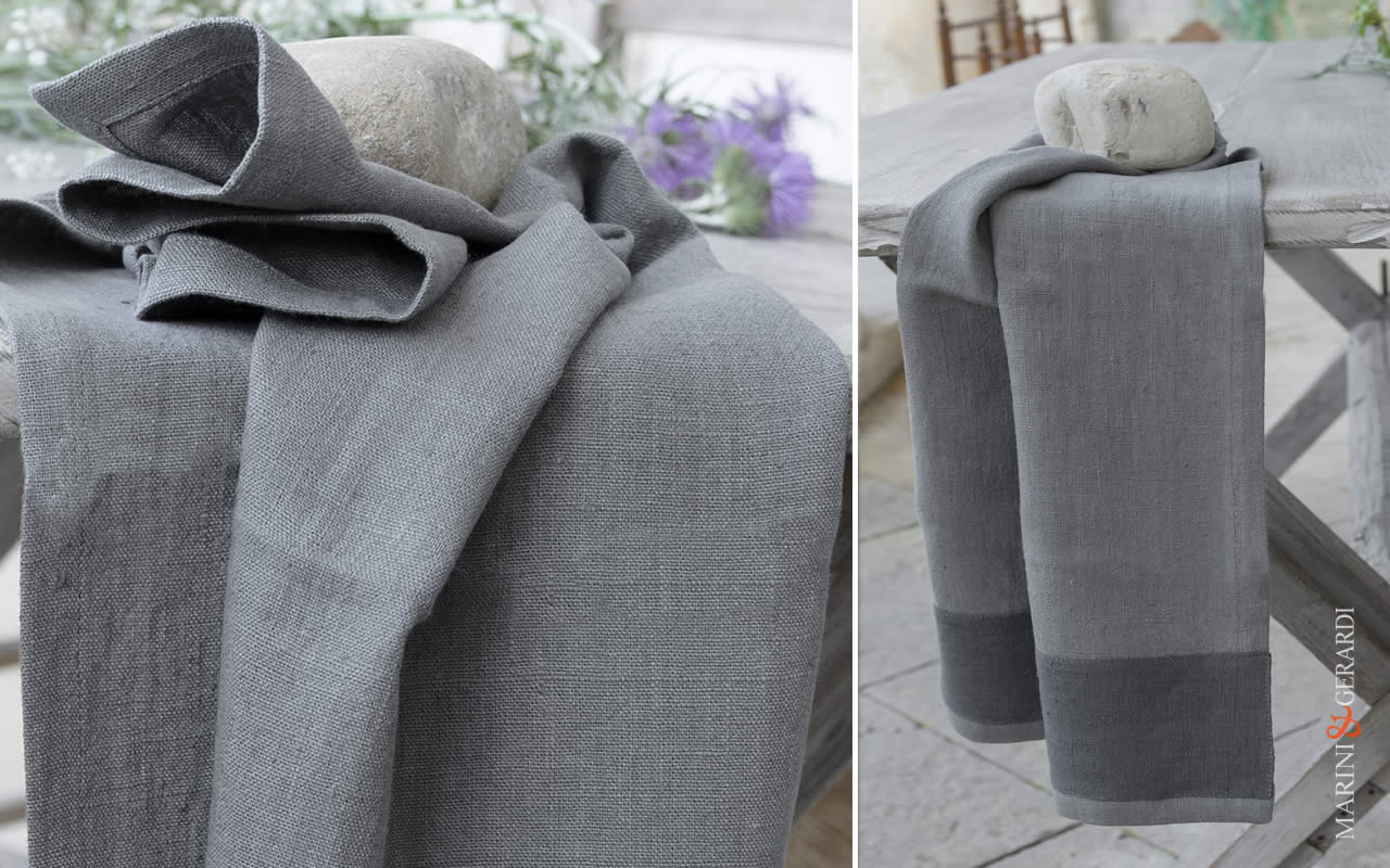 Italian Bath Linen Towel With Applications X17 COLORS: Grey