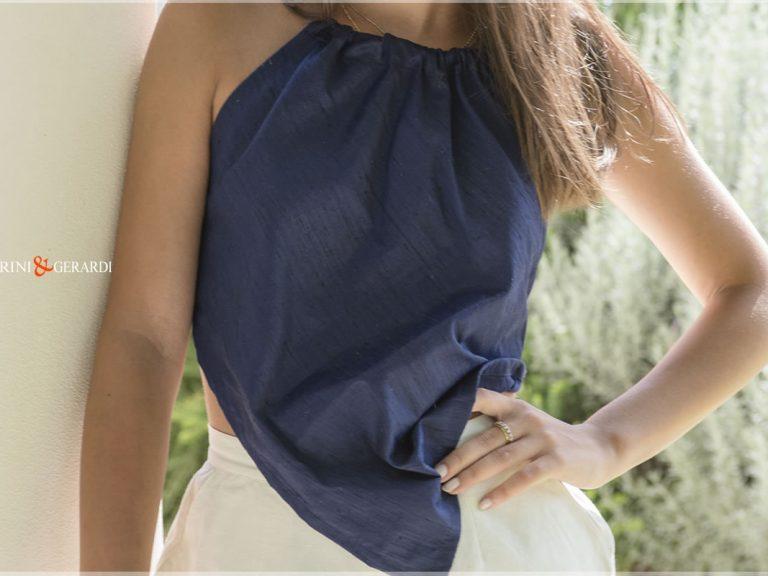 Shantung Silk Women Top Nigt Blue 01