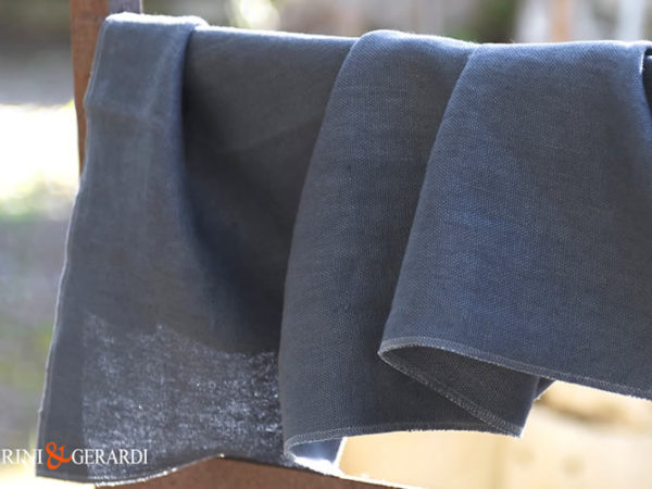 Blue Dark Upholstery Linen Fabric Stone Washed