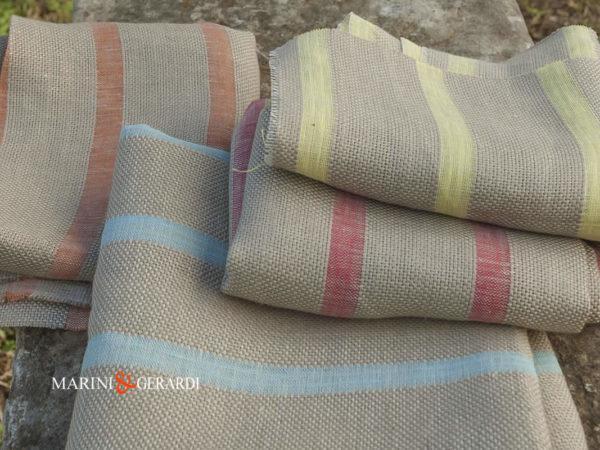 Italian Linen Fabrics For Drapery Panels Streaked Colours
