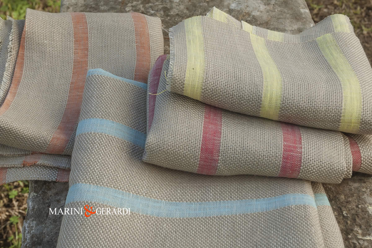 Italian Linen Fabrics For Drapery Panels Streaked Colours