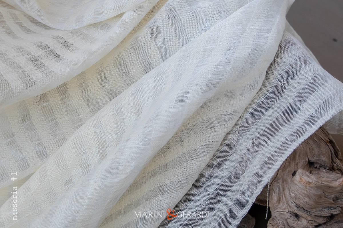 Crisp Lightweight Pure Linen Gauze Fabric Cream Masseria #1