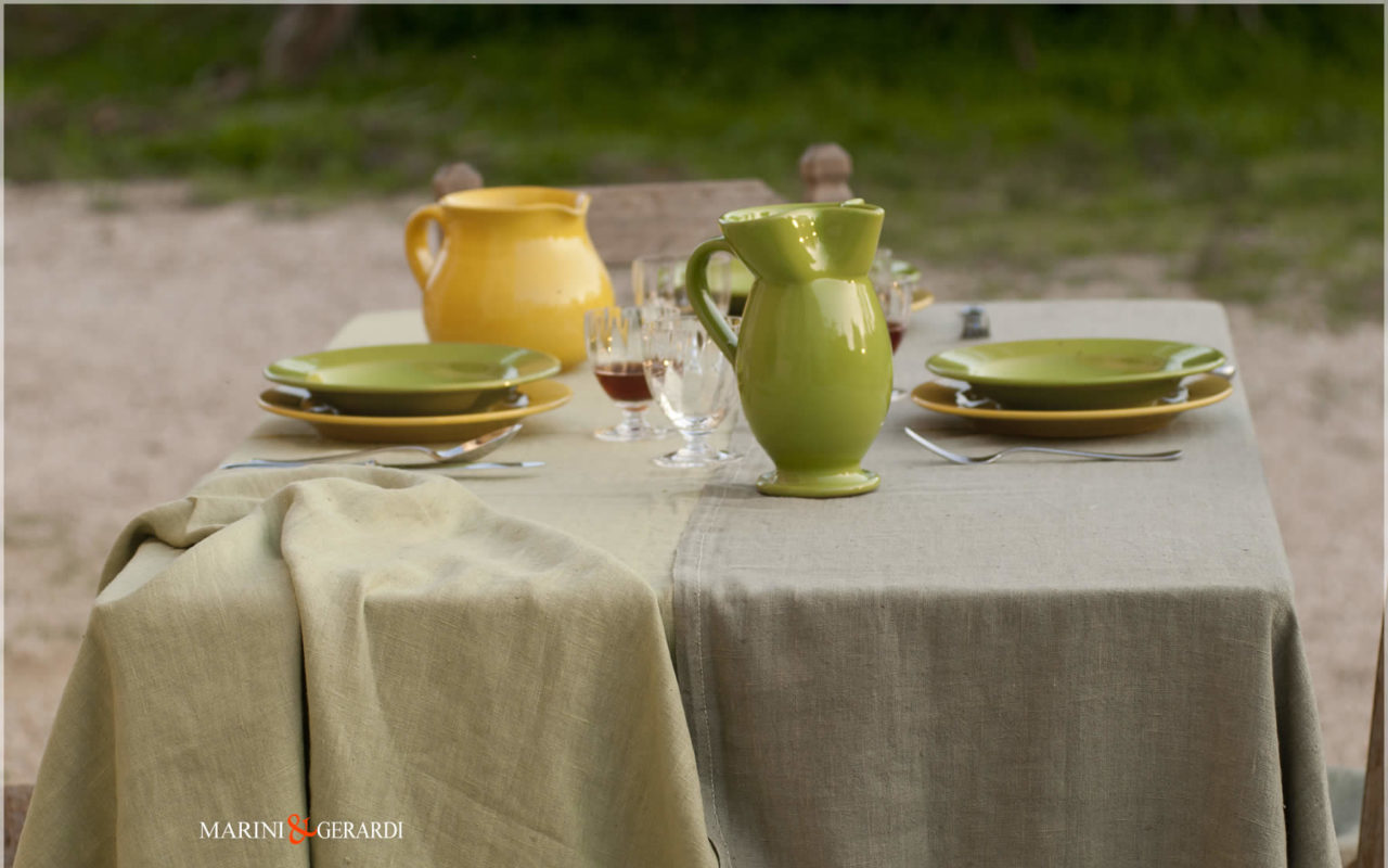 Linen Tablecloth Pistachio Rotten Green Color 03