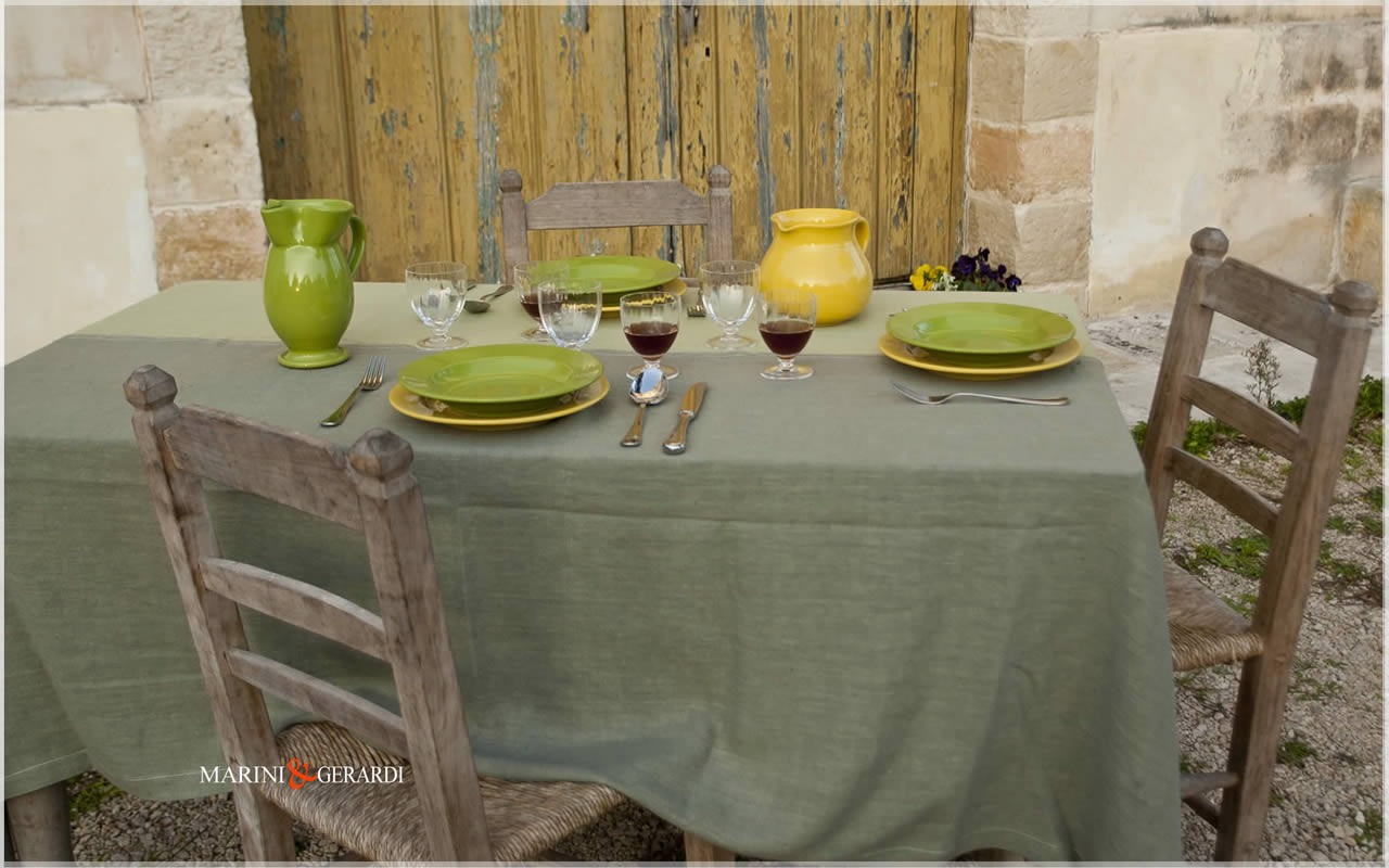 Linen Tablecloth Pistachio Rotten Green Color