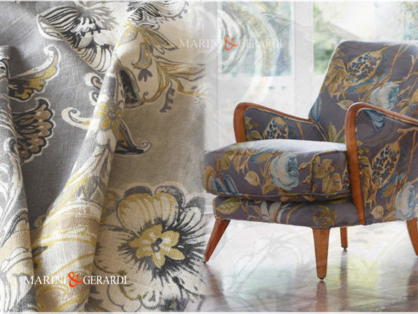 Armchair With Linen Fabric Flowers Botticelli Spring Grey