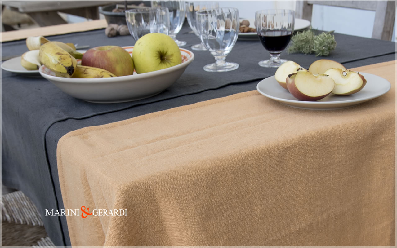 Fine Linen Tablecloths Pumpkin Anthracite Grey Siviglia