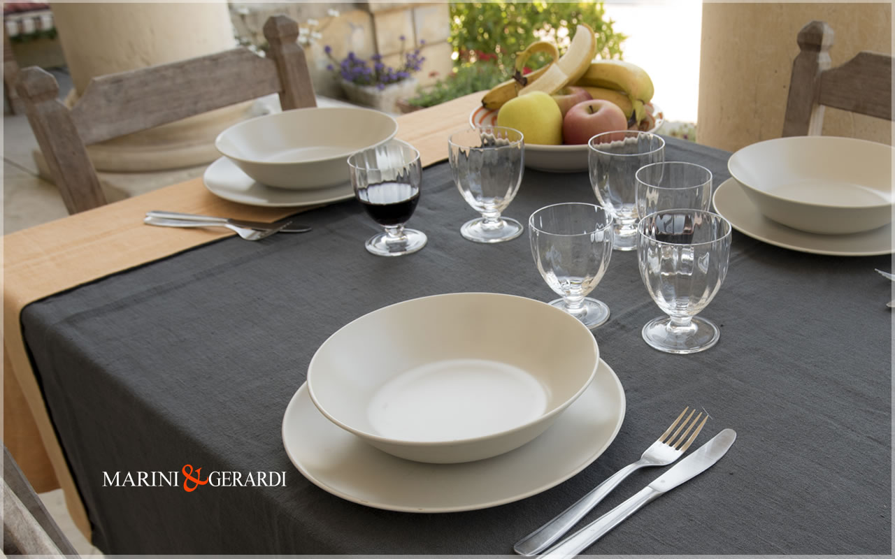 Good Quality Linen Tablecloths Pumpkin Anthracite Grey Siviglia