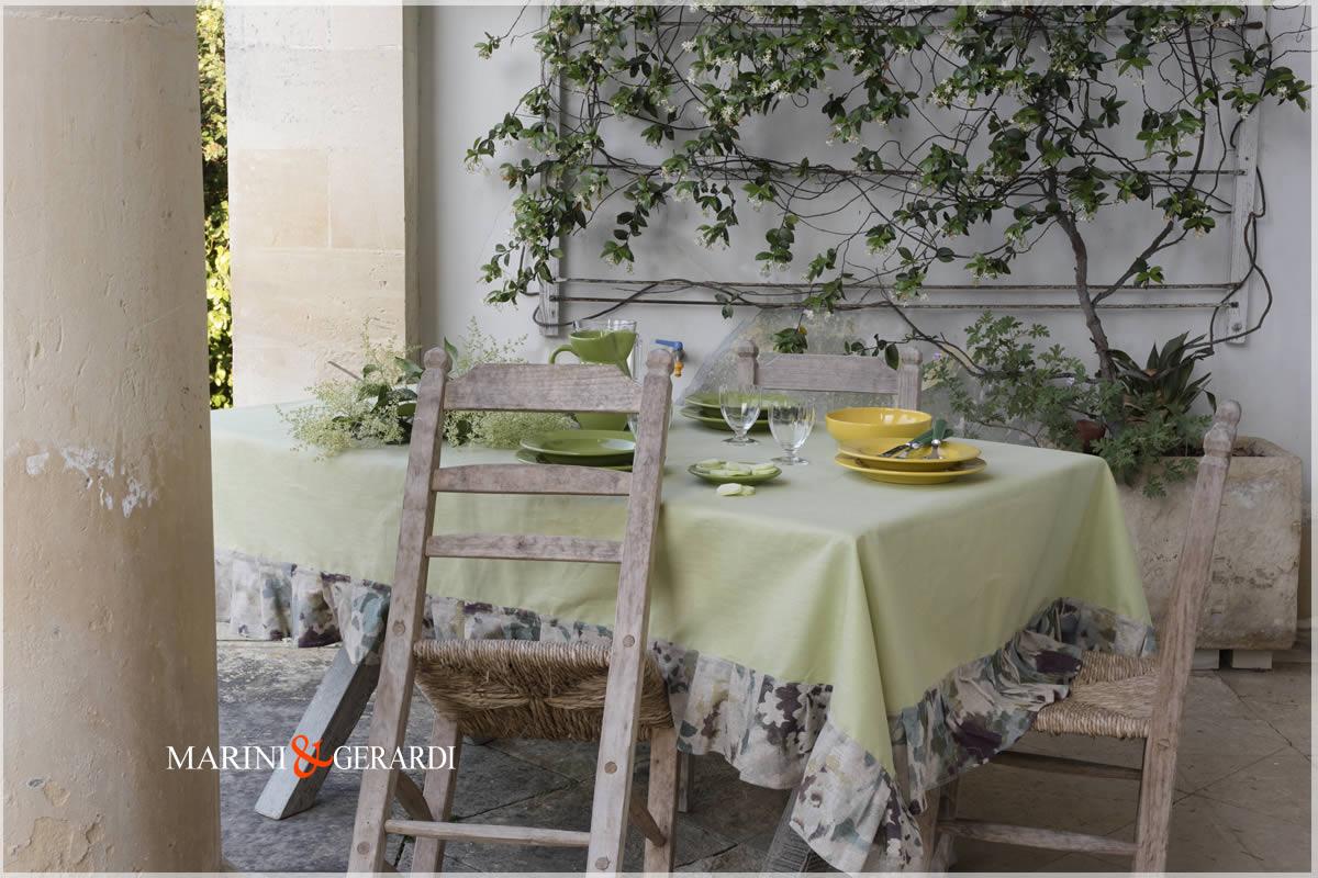 Greenish Linen Tablecloths Stain Resistent Dolce Vita
