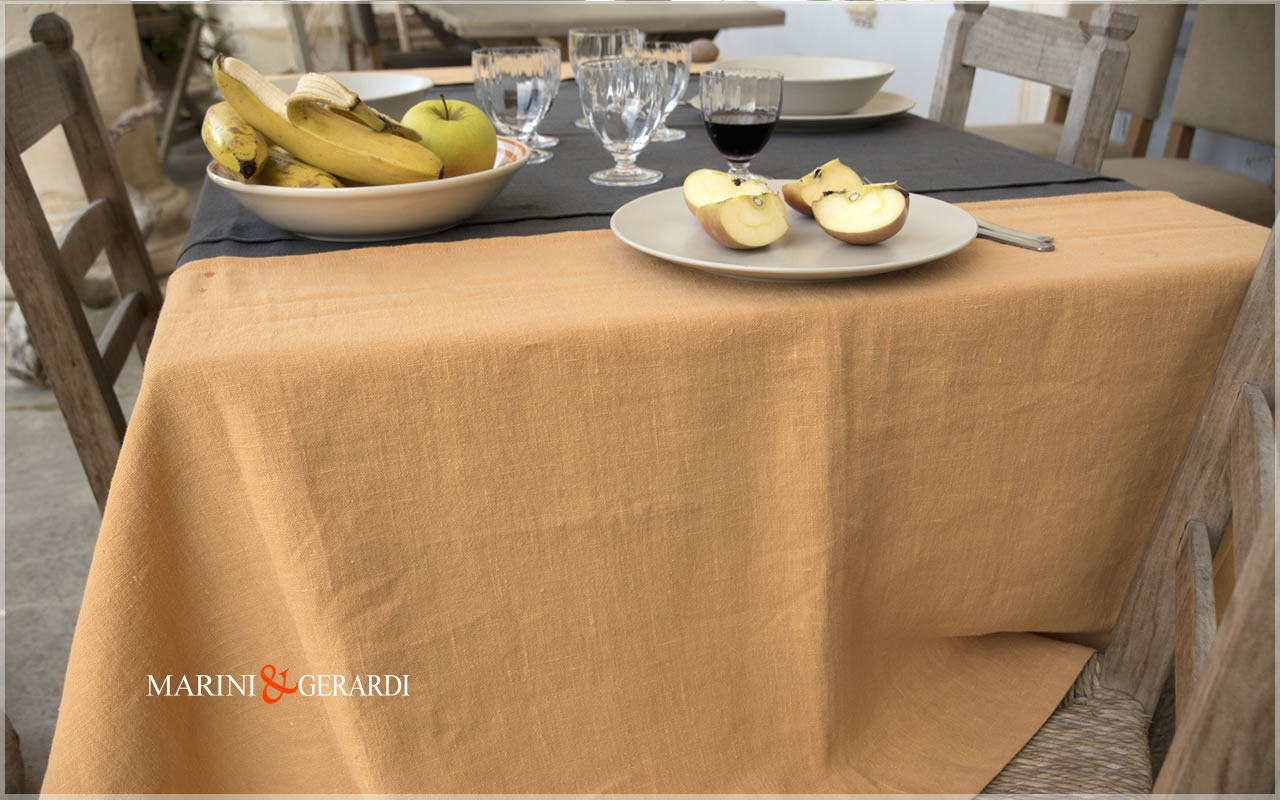 Italian Linen Tablecloths Pumpkin Anthracite Grey Siviglia