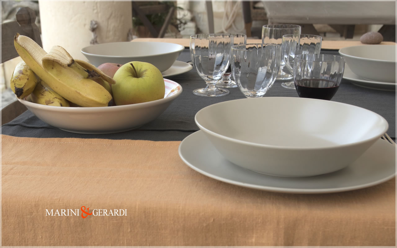 Linen Holiday Tablecloths Pumpkin Anthracite Grey Siviglia