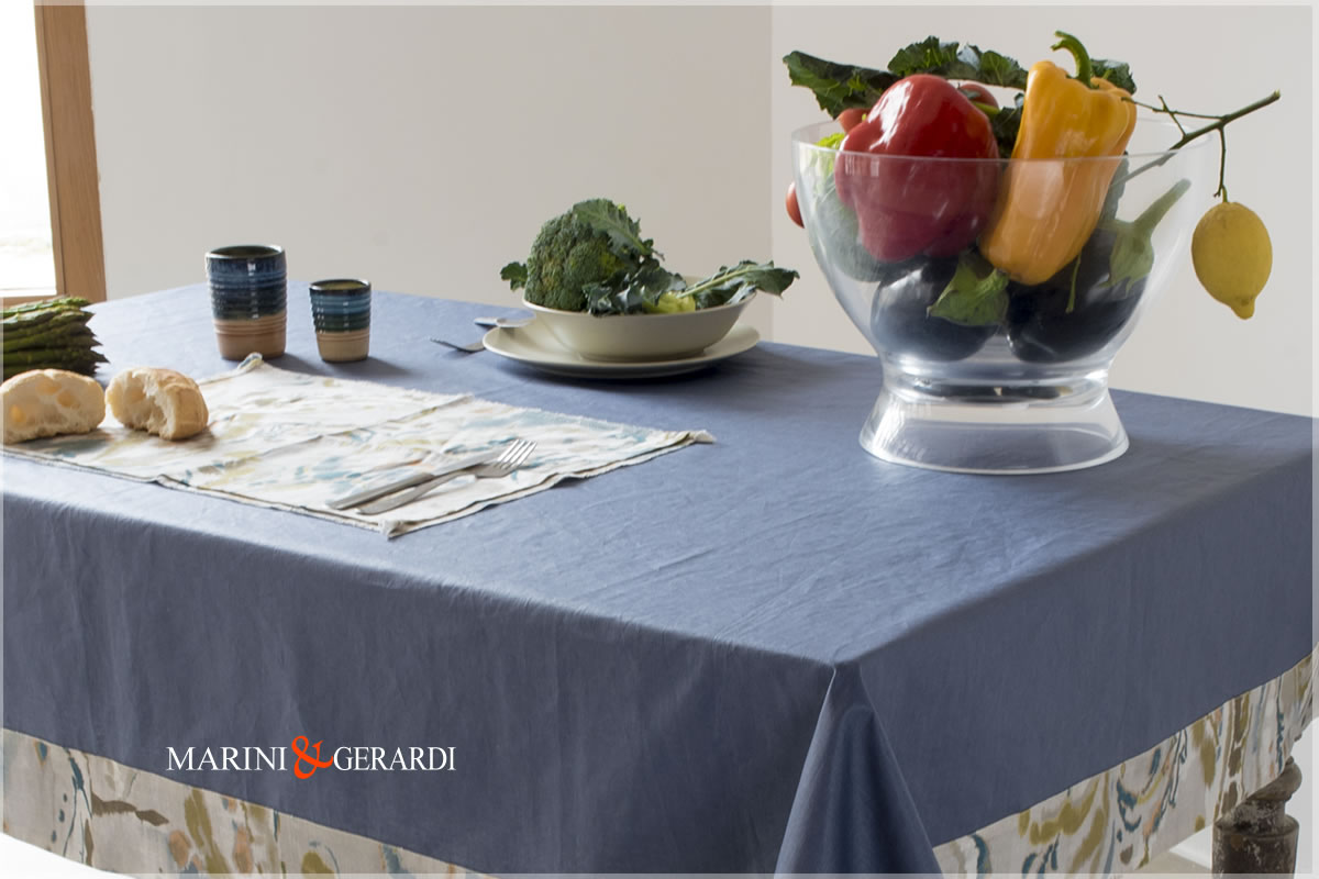Linen Stain Resistant Tablecloth Blu And Flowers Vacanze Romane 08