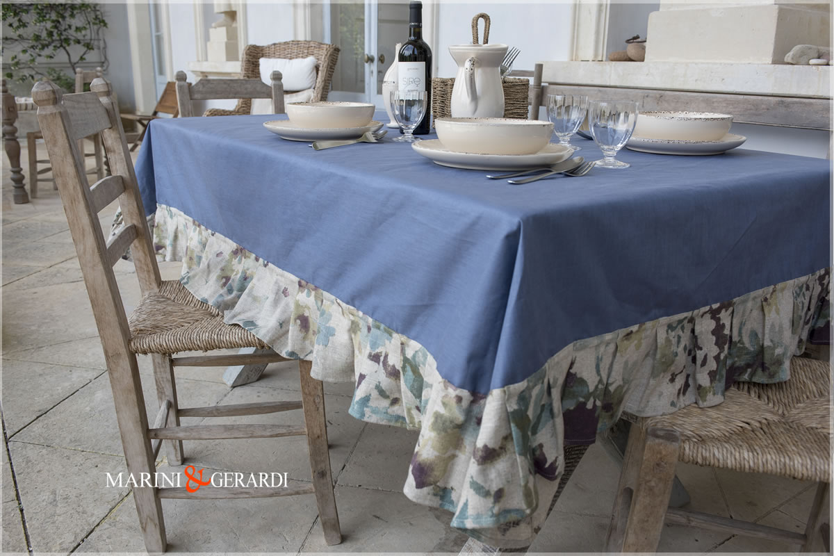 Linen Stain Resistant Tablecloth Blue Border Flowers Dolce Vita