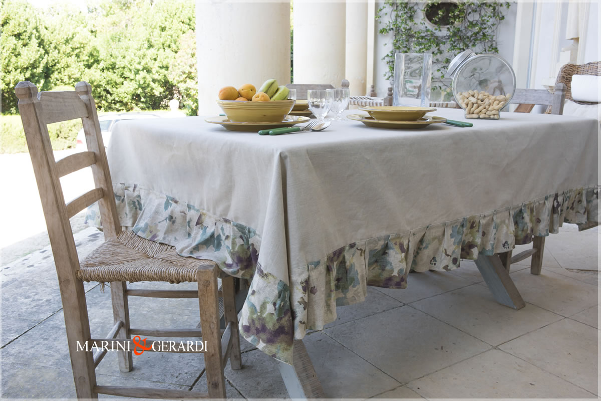 Linen Stain Resistant Tablecloth Rope Border Flowers Dolce Vita