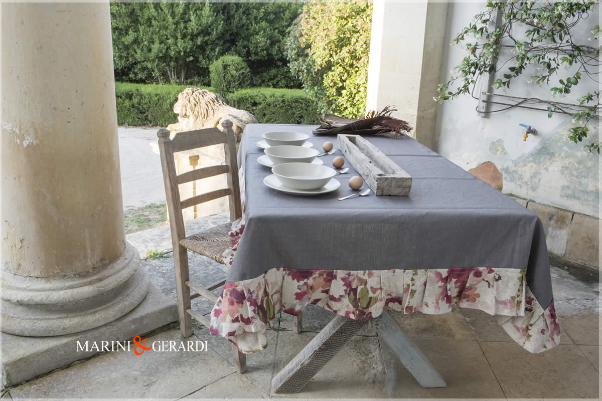 Linen Stain Resistant Tablecloths Anthracite Dolce Vita